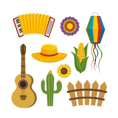 configurar la decoración de festa junina para celebrar fiestas vector