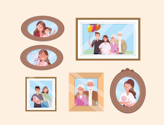 establecer imágenes familiares felices recuerdos decoración vector