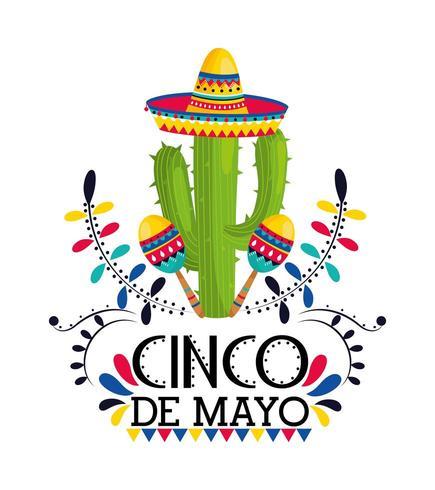 planta de cactus con sombrero y maracas para evento vector