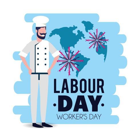 bagare med uniform för att fira arbetsdagen vektor
