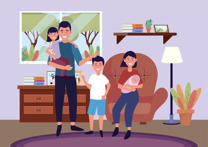 homem e mulher na cadeira com filha e filhos