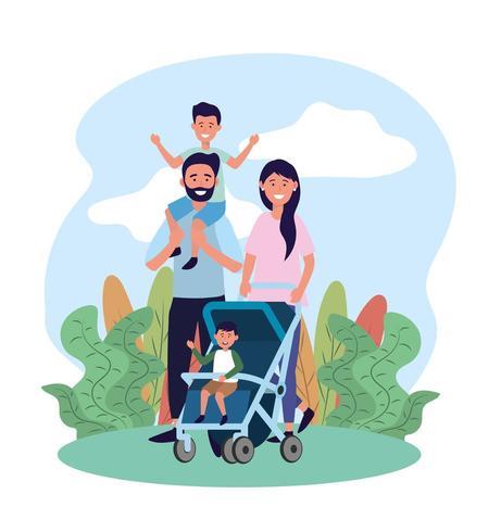 hombre y mujer con su hija y su hijo en la carriola vector