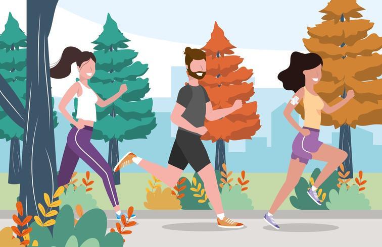 hombres y mujeres practican ejercicio y actividad de correr vector