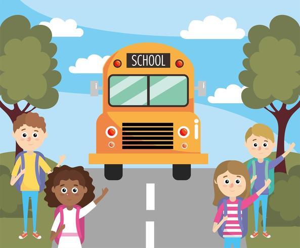 estudiantes de niñas y niños esperando el autobús escolar vector