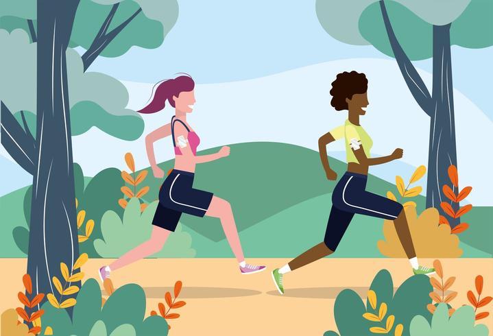 donne che esercitano esercizio fitness sport vettore