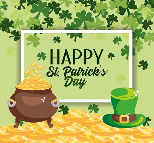 St Patrick-emblem med mynt inuti kitteln och hatten vektor