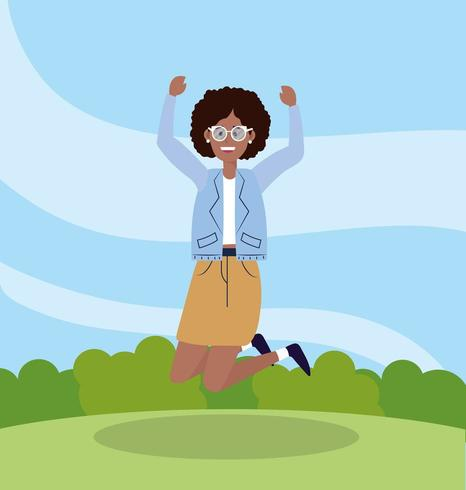 pretty woman jumping with casual casual vector