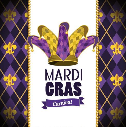 Tarjeta con sombrero joker y emblema para evento de carnaval vector