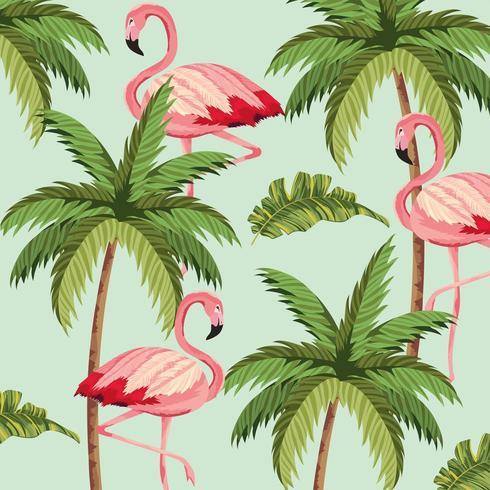 flamencos exóticos con fondo de palmera vector