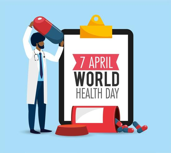 man doctor with list diagnosis to health day vector