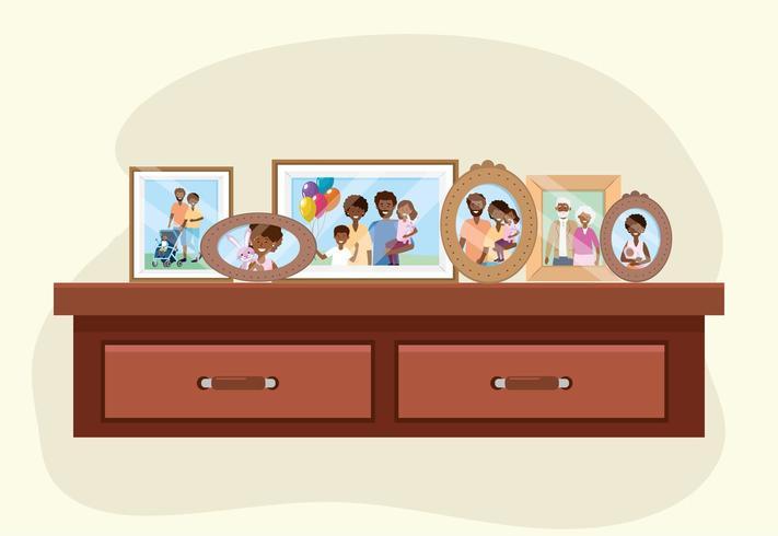tocador con fotos familiares recuerdos decoración vector
