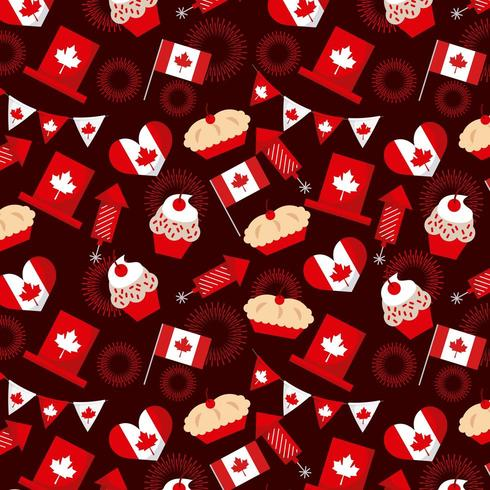 Canada day elements seamless pattern vector