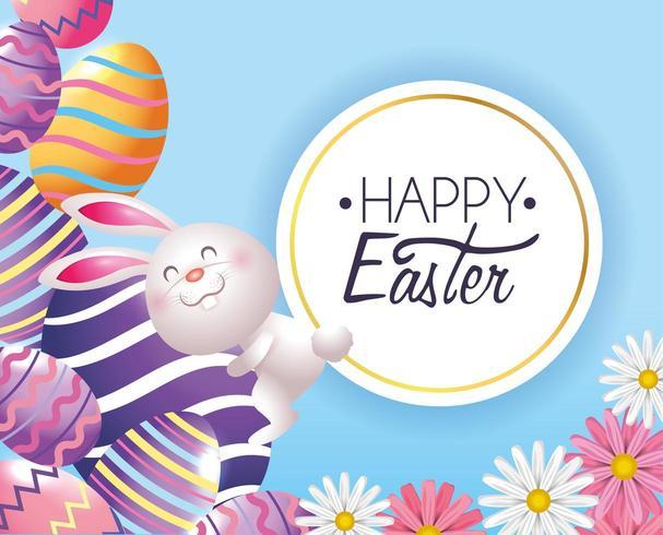 decorazione delle uova di Pasqua con coniglio ed etichetta