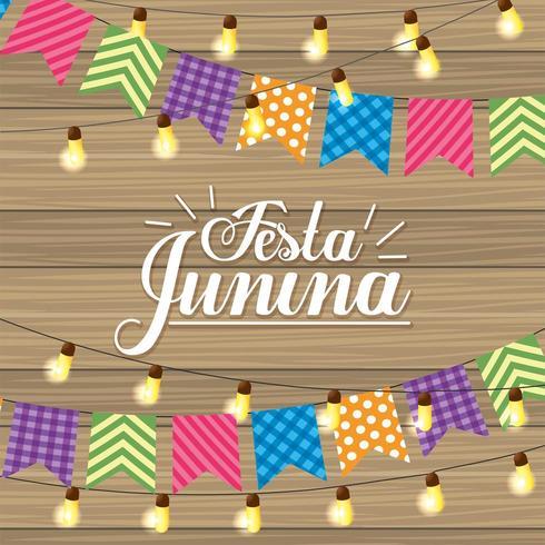 banner de festa e luzes para festa junina vetor