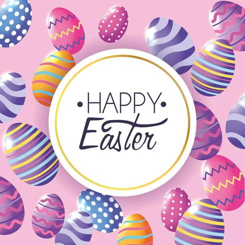 Happy Easter label with easter eggs decoration background vector