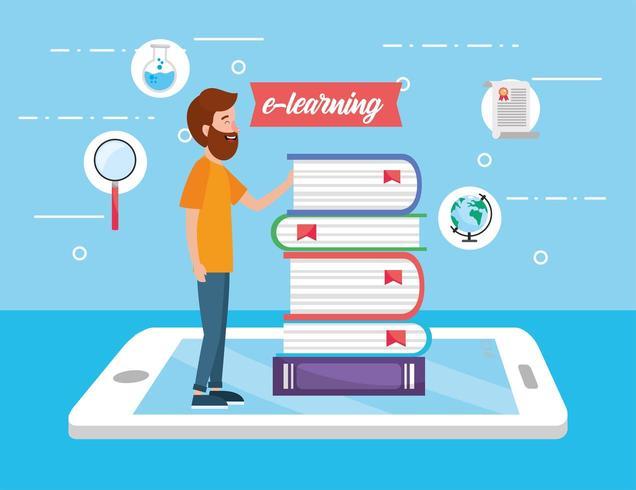 hombre con libros educativos y tecnología de teléfonos inteligentes vector