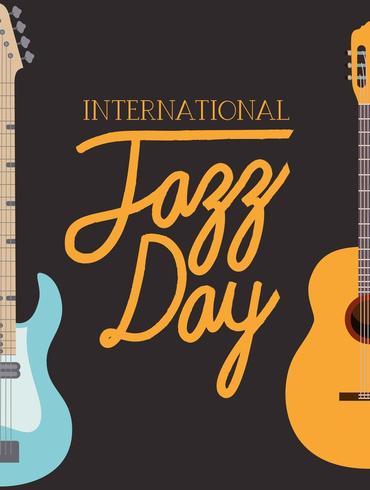 affiche de la journée de jazz avec des guitares vecteur