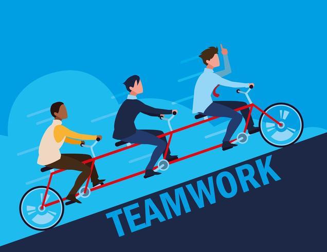 trabajo en equipo con empresarios elegantes en tándem vector