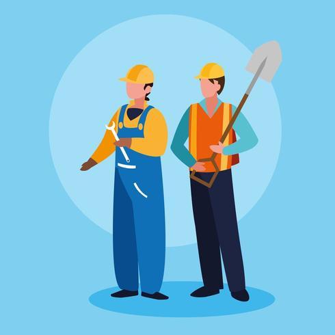 Grupo de trabajadores hombres avatar personaje vector