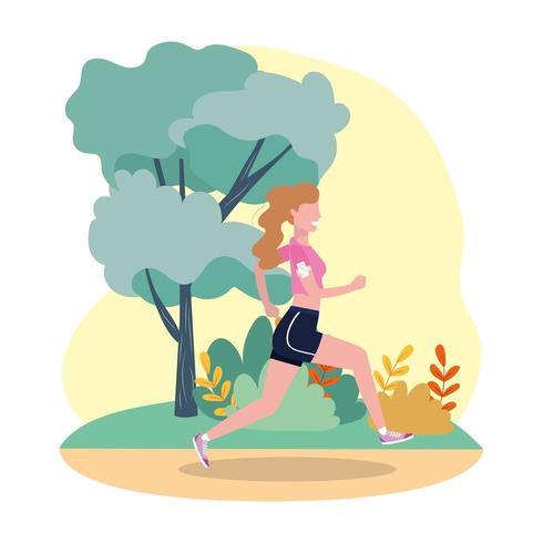 mujer practica correr actividad en el paisaje vector