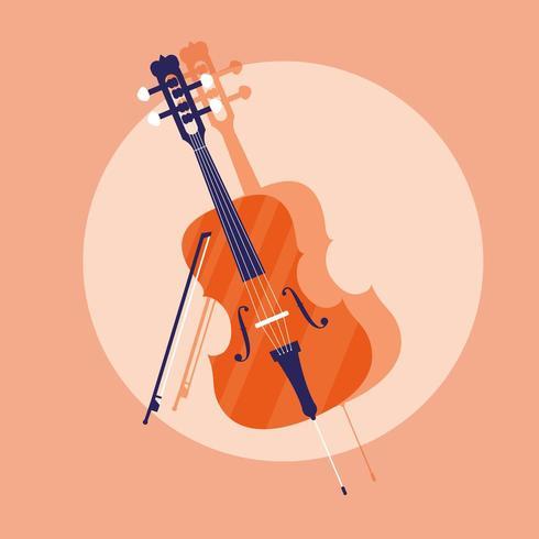violino icona strumento classico vettore