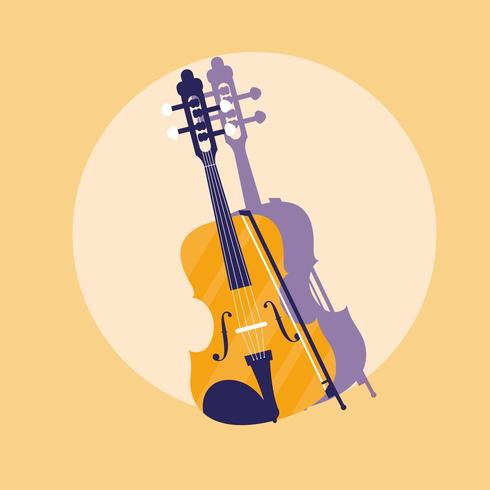 fiddle classical instrument icon vector