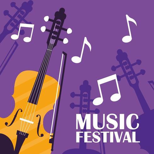 violino poster strumento classico vettore