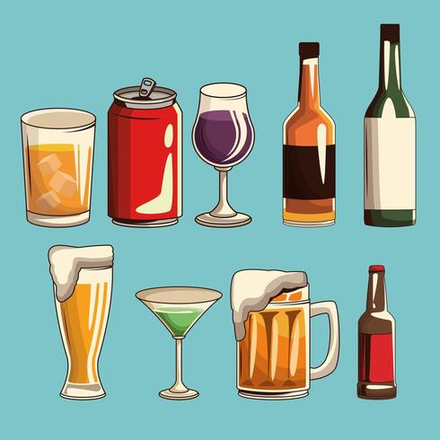 alcoholic drinks isolated