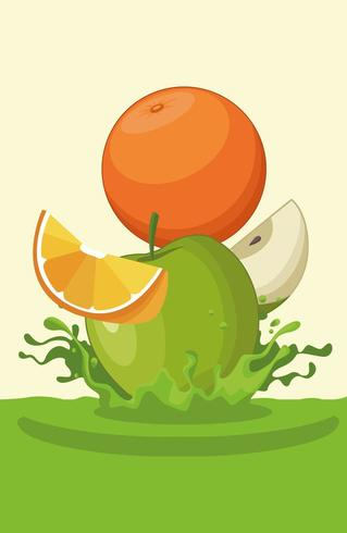 orange and apple falling for smoothie vector