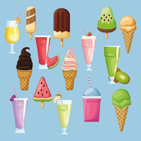 Conjunto de sorvete e bebidas