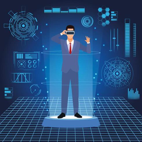 Geschäftsmann mit virtueller Brille