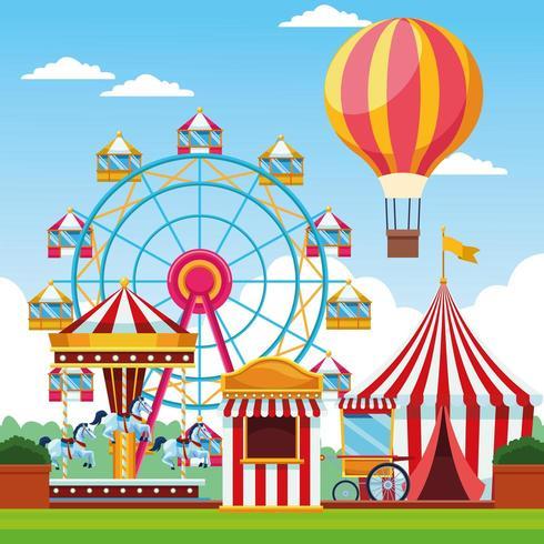 Carnaval avec des attractions amusantes vecteur
