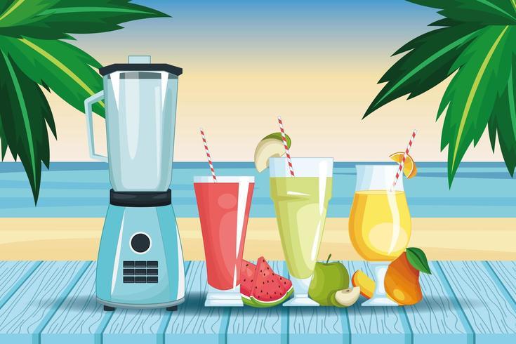 smoothies och mixer bredvid stranden