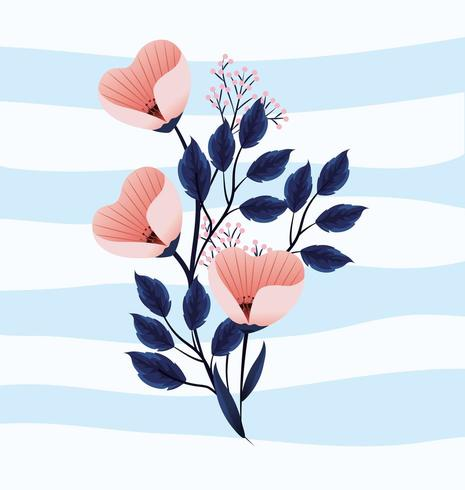 cute tropical flowers plants with leaves