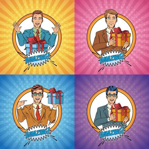 Pop-Art Geschäftsmann Cartoon Set