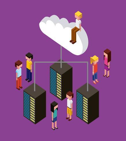 isometrische Leute, die auf Wolke sitzen und um Server stehen