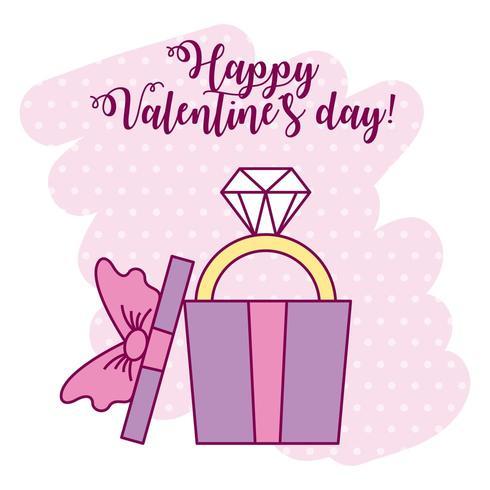 carte de Saint Valentin avec bague en diamant dans une boîte cadeau vecteur