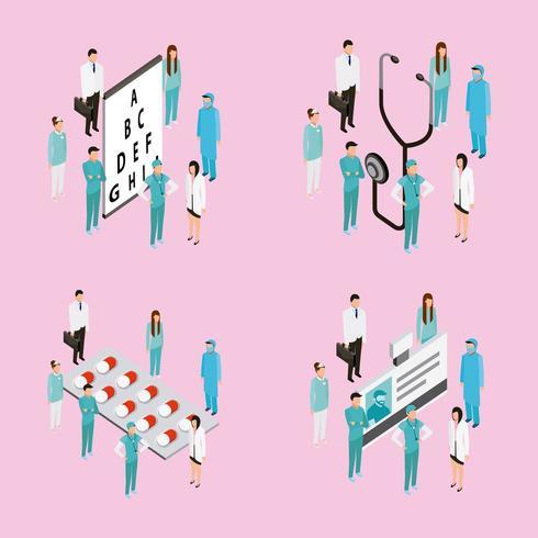 Mediziner mit Stethoskop, Grafik, Medizin und Ausweis