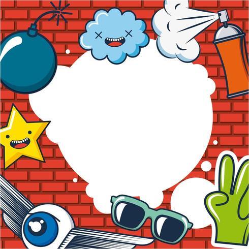 kreative ideenkarte mit wolken, brille, geflügeltem auge, hand, stern, bombe und spray
