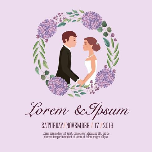 tarjeta de boda de pareja vector