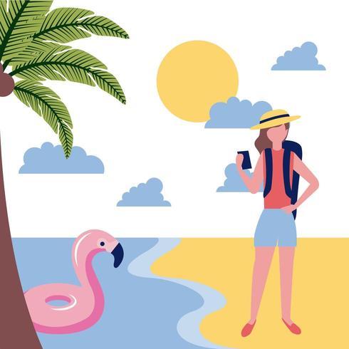 Frau Tourist am Strand