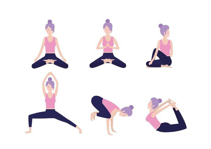 set healthy woman practice yoga pose vector