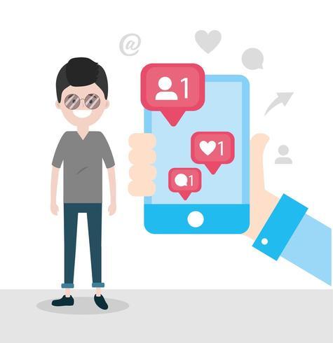 uomo con lo smartphone nella mano e il messaggio di chat vettore