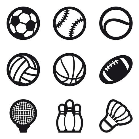 Icon Set Of Different Sport Balls And Bowling Pines Download Free Vectors Clipart Graphics Vector Art