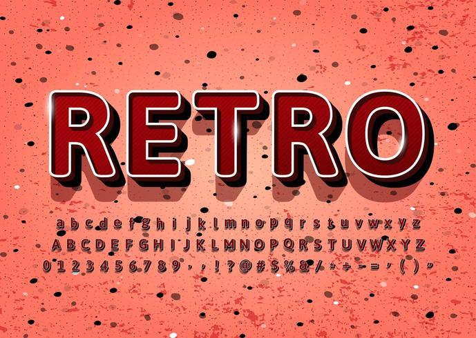 Alfabeto vintage retrô 3D vetor