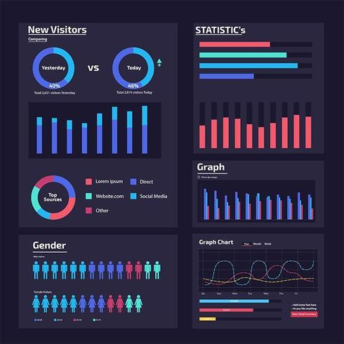 infographic web analysis elements vector