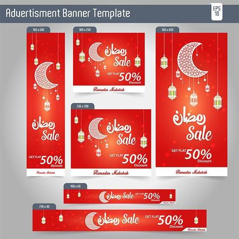 Ramadan Kareem Advertising 6 verschiedene Sale Banner Template Design