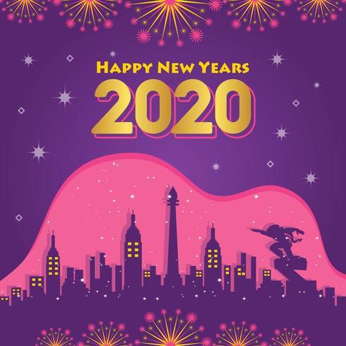 Stadthintergrund des guten Rutsch ins Neue Jahr 2020