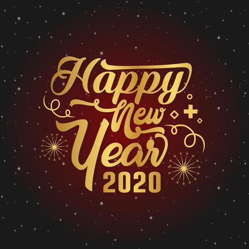 Frohes Neues Jahr Gruß Red Script
