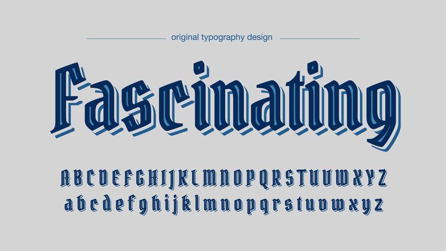 Blu elegante design antico tipografia Deco vettore